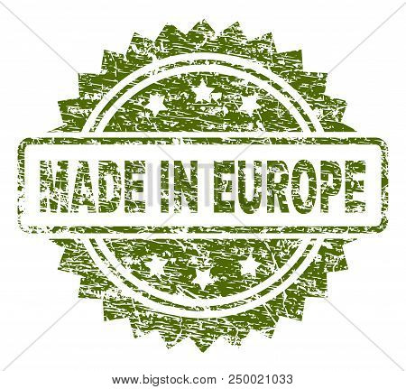 Made In Europe Stamp Seal Watermark With Rubber Print Style. Green Vector Rubber Print Of Made In Eu