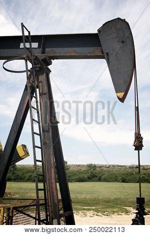 Oil well in Ayoluengo de la Lora, Burgo Province, Castilla Leon, Spain.