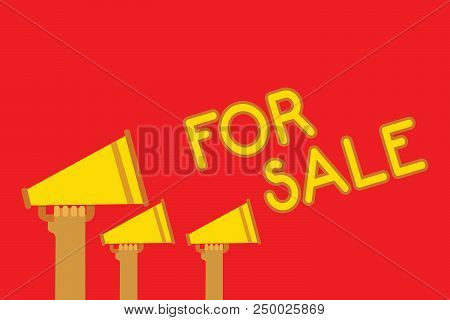 Conceptual Hand Writing Showing For Sale. Business Photo Showcasing Putting Property House Vehicle A