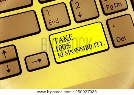 Conceptual Hand Writing Showing Take 100 Responsibility.. Business Photo Showcasing Be Responsible F