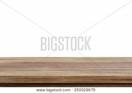 Empty Wooden Table, Isolated On White Background, Banner, Table Top, Shelf, Counter Design For Produ