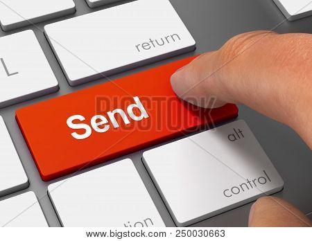 Send Pushing Keyboard With Finger 3d Concept Illustration