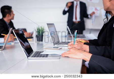 Business People Meeting And Discussing With Colleagues In Conference Room. Personal Development And
