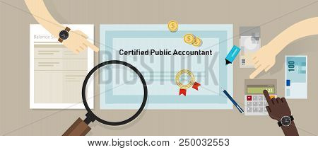Certified Public Accountant Cpa Paper On A Table. Business Concept Of Accountant Education Certifica