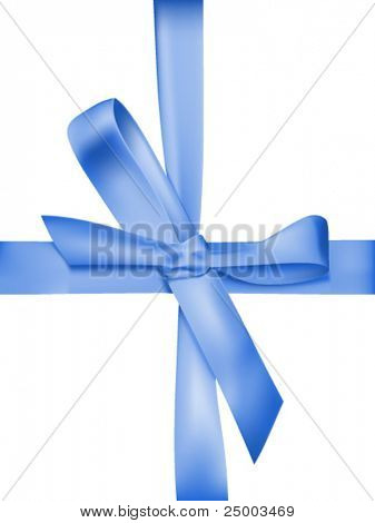 Shiny blue ribbon on white - vector illustration