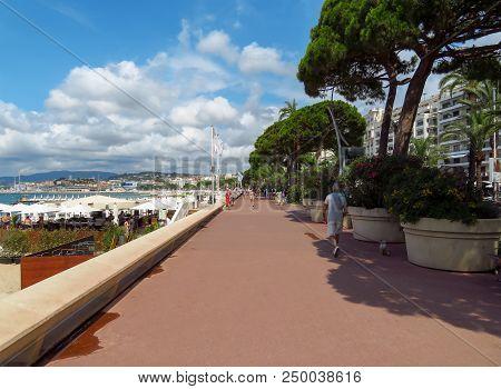 Cannes, France - June 28, 2018: Promenade De La Croisette In Cannes. France. Unidentified People Are