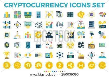 Cryptocurrency And Blockchain Related Flat Icons. Crypto Icon Set Featuring Bitcoin, Wallet, Mining,
