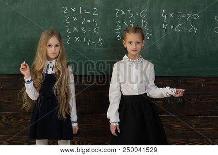 Solve Problem. Two Schoolgirls Solve Problem At School. Solve Problem At School Lesson. Helping Each