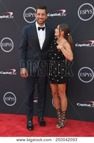 LOS ANGELES - JUL 18:  Aaron Rodgers and Danica Patrick arrives to the 2018 ESPY Awards  on July 18, 2018 in Hollywood, CA