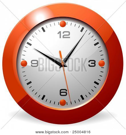 Classic office clock. Orange.