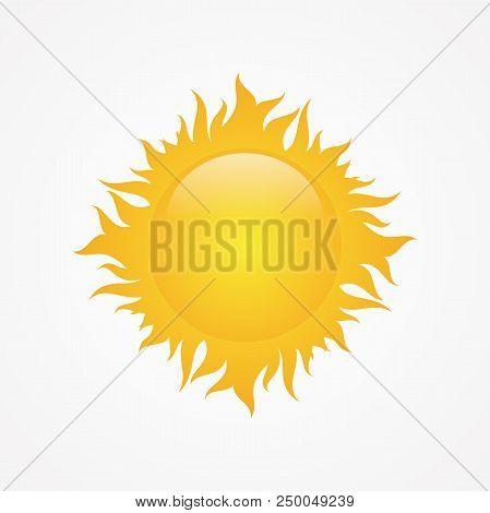 Stock Vector Sun For Element Design On The White Background. Sun Weather Icon Vector. Vector Illustr