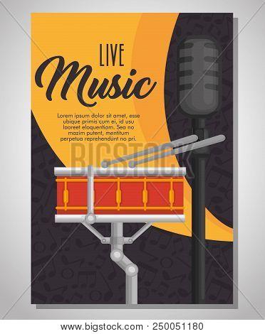 Drum Musical Instrument Label Vector Illustration Design