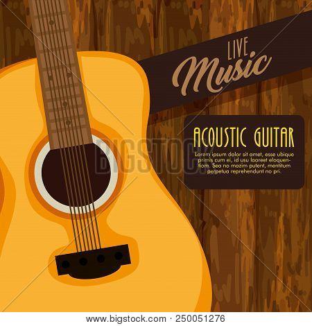 Guitar Acoustic Instrument Label Vector Illustration Design