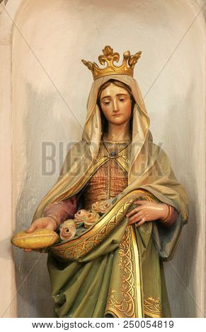 VELA LUKA, CROATIA - MARCH 22: Saint Elizabeth of Hungary, statue on the altar of Saint Francis of Assisi in the chapel of Our Lady of Health in Vela Luka, Korcula island, Croatia, on March 22, 2017.