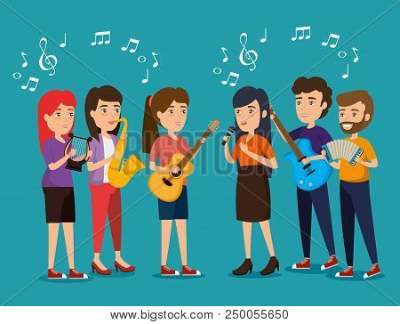 Group Of Persons In Concert Vector Illustration Design