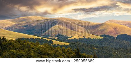 Beautiful Mountainous Background. Lovely Summer Scene With Rolling Hills And Gorgeous Sky