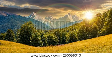Composite Summer Landscape In Mountains Under The Rainbow At Sunset. Perfect Countryside Scenery Wit
