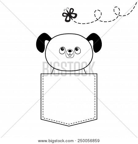 poster of Dog in the pocket, flying butterfly. Doodle linear sketch. Cute cartoon animals. Puppy pooch character. Dash line. Pet animal. White black color. T-shirt design. Baby background. Isolated. Flat Vector