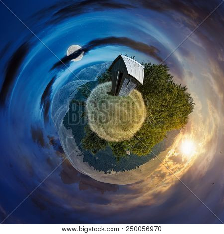 Time Change Concept Over The Woodshed On Little Planet Spherical Panorama. Beautiful Countryside Con
