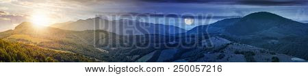 Time Change Concept Over The Mountainous Panorama With Sun And Moon. Perfect Countryside Landscape.
