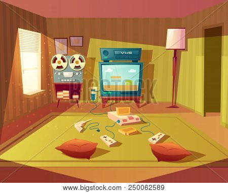Vector Cartoon Illustration Of Empty Playroom For Children With Game 8-bit Console, Tv Screen And Jo