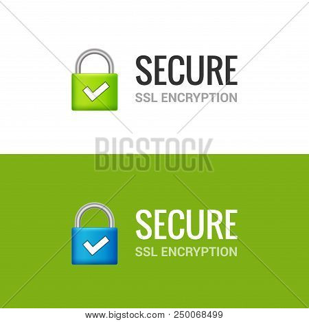 Secure Internet Connection Ssl Icon. Isolated Secured Lock Access To Internet Illustration Design. S