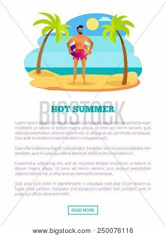 Hot Summer Web Poster Tropical Beach And Athletic Sexy Sportsman At Summertime. Male In Sunglasses,