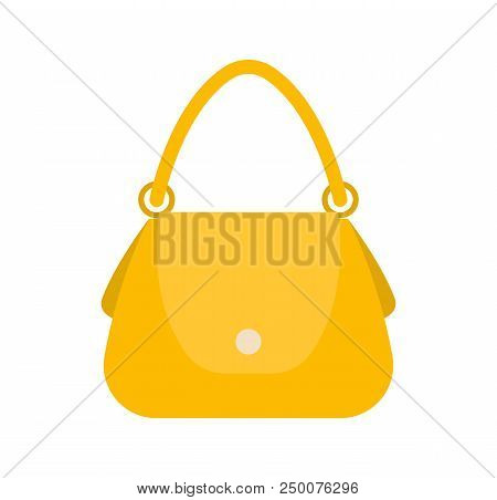 Elegance Female Bag, Colorful Vector Illustration, Yellow Handbag, Round Handle On Two Clips, White