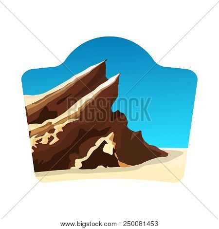 Travel Logo Concept With Vasquez Rocks, Blue Sky And White Background, Stock Vector