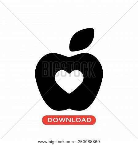 Hospital Apple Vector Icon Flat Style Illustration For Web, Mobile, Logo, Application And Graphic De
