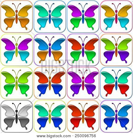 Set Of Glossy Icons Butterflies With Colorful Wings, Isolated On White Background. Eps10, Contains T