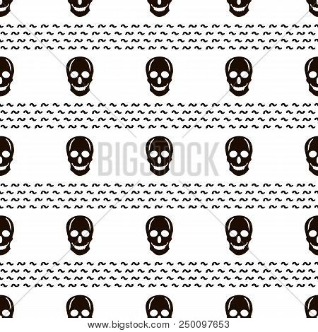 Seamless Pattern With Black Skulls On The White Background. Vector Illustration