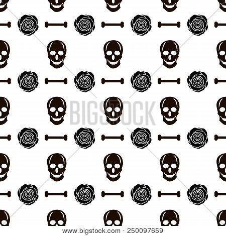 Seamless Pattern With Black Skulls, Bones And Roses On The White Background. Vector Illustration