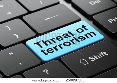 Politics Concept: Computer Keyboard With Word Threat Of Terrorism, Selected Focus On Enter Button Ba
