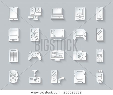 Device Paper Cut Art Icons Set. 3d Web Sign Kit Of Gadget. Electronics Pictogram Collection Includes