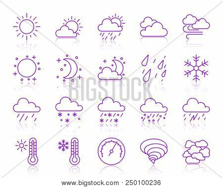 Weather Thin Line Icons Set. Outline Vector Monochrome Web Sign Kit Of Meteorology. Climate Linear I