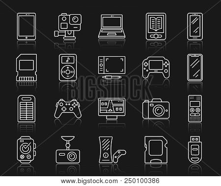 Device Thin Line Icons Set. Outline Web Sign Kit Of Gadget. Electronics Linear Icon Collection Inclu