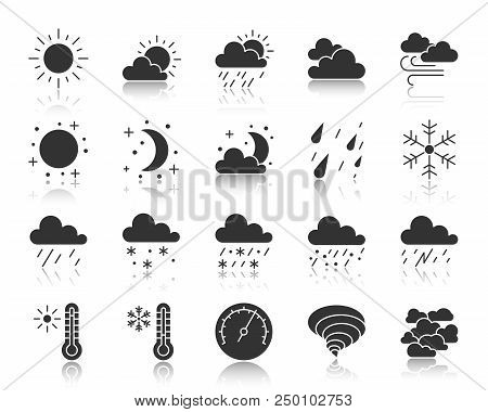 Weather Silhouette Icons Set. Monochrome Web Sign Kit Of Meteorology. Climate Pictogram Collection I