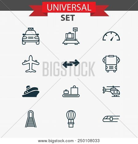 Shipping icons set with copter, bus, shipping tour and other travel boat elements. Isolated vector illustration shipping icons. poster