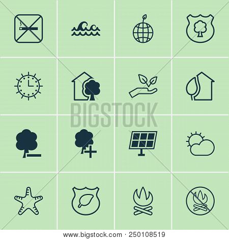 Ecology Icons Set With Starfish, No Smoking, Protect Ecology And Other Home Elements. Isolated Vecto