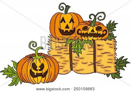 Scalable Vectorial Representing A Halloween Pumpkins With Bale Of Hay, Element For Design, Illustrat
