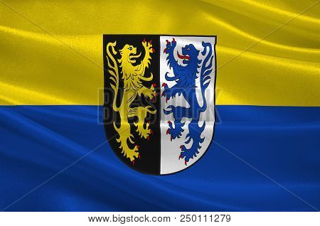 Flag Of Kusel Is A District In The South Of Rhineland-palatinate, Germany. 3d Illustration