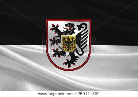 Flag Of Landau Is An Autonomous Town District Of Southern Rhineland-palatinate, Germany. 3d Illustra