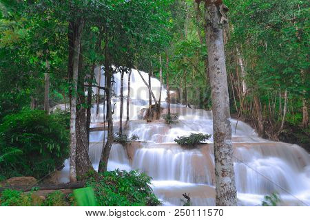 Waterfall Located In The Mae Ngao District Of Lampang Solve A Small Waterfall Located. A Limestone W