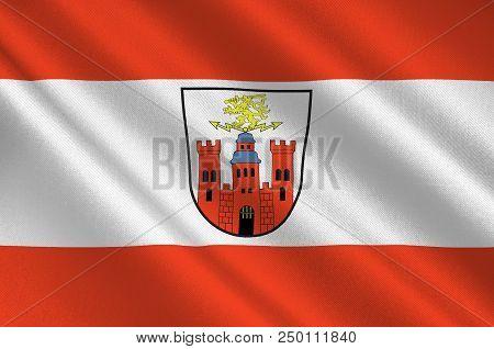 Flag Of Pirmasens Is An Independent Town In Rhineland-palatinate, Germany. 3d Illustration