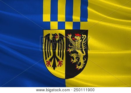 Flag Of Rhein-hunsrueck-kreis Is A District In The Middle Of Rhineland-palatinate, Germany. 3d Illus