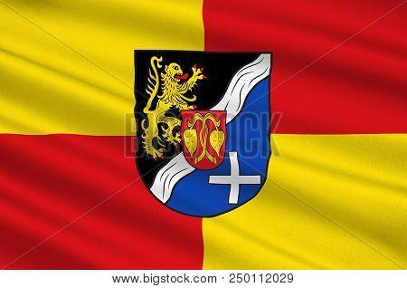Flag Of Rhein-pfalz-kreis Is A District In The East Of Rhineland-palatinate, Germany. 3d Illustratio