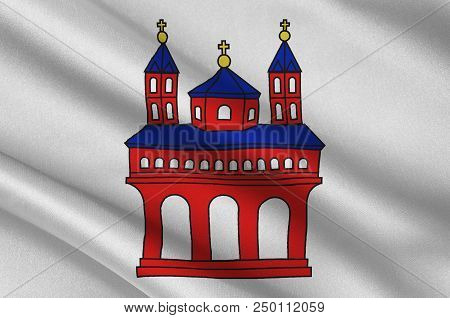 Flag Of Speyer Is A Town In Rhineland-palatinate, Germany. 3d Illustration