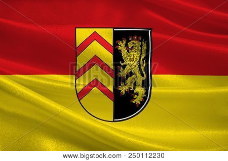Flag Of Suedwestpfalz Is A District In The South Of Rhineland-palatinate, Germany. 3d Illustration