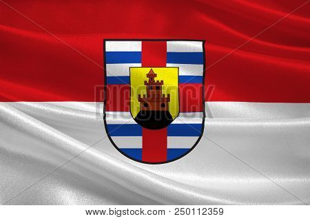 Flag Of Trier-saarburg Is A District In The West Of Rhineland-palatinate, Germany. 3d Illustration